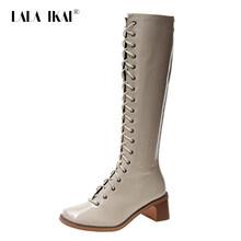 """Lala Ikai Giày Nữ Thu Đông Da PU Đen Đầu Gối Giày Nữ Giữa Gót Xe Máy Zapatos De Mujer """"XWC6098-4(China)"""