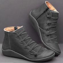Kadın düz topuk yuvarlak kafa botları rahat deri Retro dantel-up çizmeler yan fermuar yuvarlak ayak ayakkabı kadın kar çizmeler chaussures femme(China)