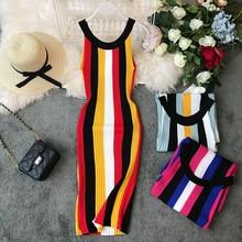 Gagarich 2019 moda elástica a rayas mujeres vestido sin mangas hasta la rodilla verano otoño Chic tejido Bodycon señoras vestidos(China)