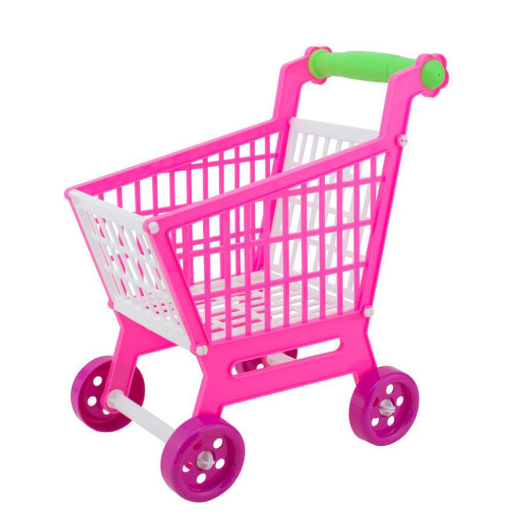 Mini Plastic Children Shopping Hand Trolley Cart for Kids Developmental Pretend Role Play Toy Playset