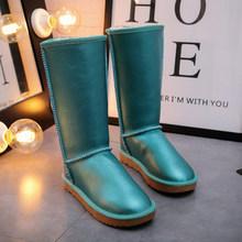 G & Zaco Lüks Su Geçirmez Uzun Kar Botları Kış Hakiki Deri Çizmeler Düz Diz Yüksek Tüp Inek Derisi Moda Botları bayan Botları(China)