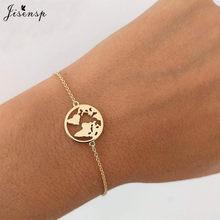 Jisensp נירוסטה בעלי החיים מיקי צמידי עבור נשים כל יום תכשיטי כסף מטוס מתכוונן צמיד Femme מתנה(China)