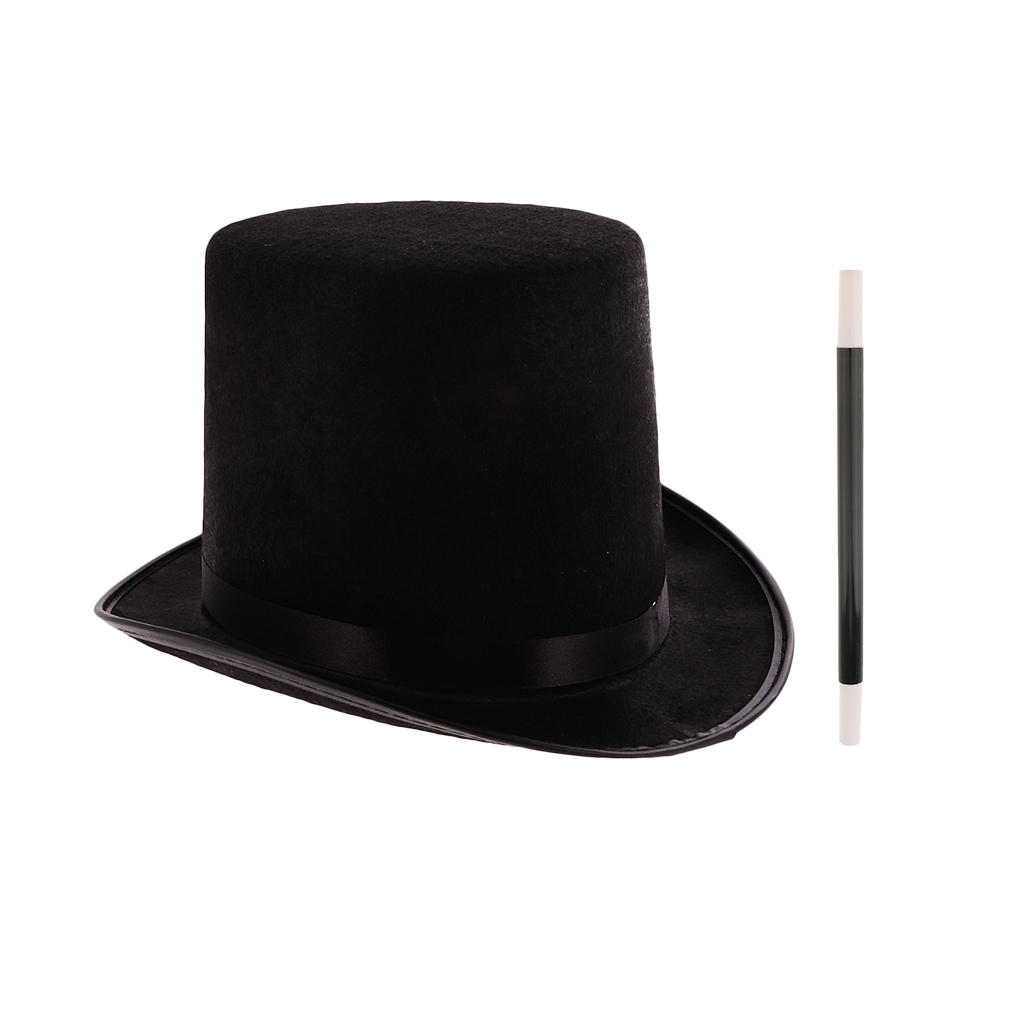 CHILDS TOP HAT 55CM AND BLACK BOW TIE MAGICIAN VICTORIAN FANCY DRESS COSTUME
