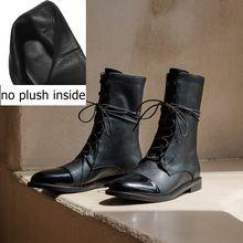 ALLBITEFO In Microfibra + in vera pelle tacco basso stivali della caviglia delle donne di alta qualità delle donne stivali martin stivali per le donne delle ragazze scarpe(China)