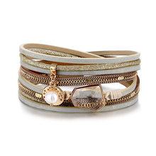 VKME w stylu Vintage, ręcznie robione, wielowarstwowe skórzana bransoletka dla człowieka modny kryształ damski mozaika bransoletka Party biżuteria Dropshipping(China)
