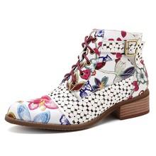 Puimentiua moda marka kadın yarım çizmeler baskı çiçek yüksek topuk bayanlar ayakkabı kadın parti dans pompaları temel deri çizmeler sıcak(China)