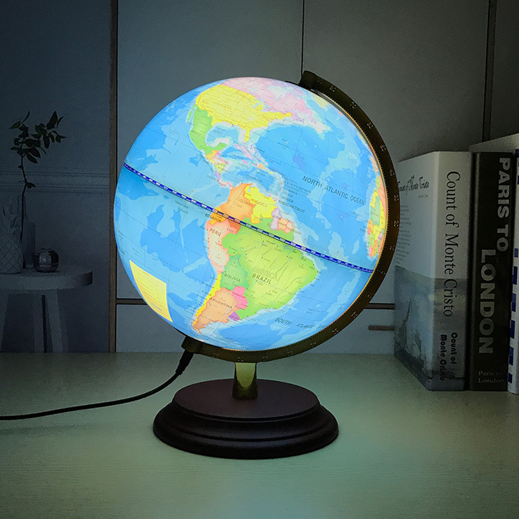 Retro Style Geographical World Globe Map Lights Lamp Toy Educational Blue
