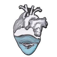 16 tipi di Smalto Spille Anatomico Del Cuore Broche Clessidra Del Cranio Utero Colorato Risvolto Spille Medico Anatomia Neurologia Spilli per il Medico(China)