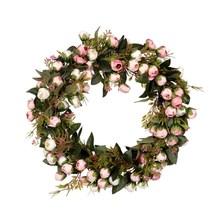 Рождественский венок с цветами, розовая гирлянда с элегантным лучшим украшением для дома, стены, двери и окна, свадебное украшение(Китай)