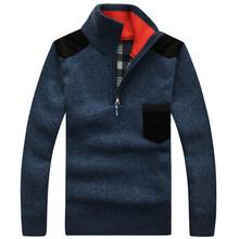 Pull hommes mode Pull hommes fermeture éclair col montant automne vêtement tricoté d'hiver chemise Pull Homme doux coton laine chandails SW31(China)