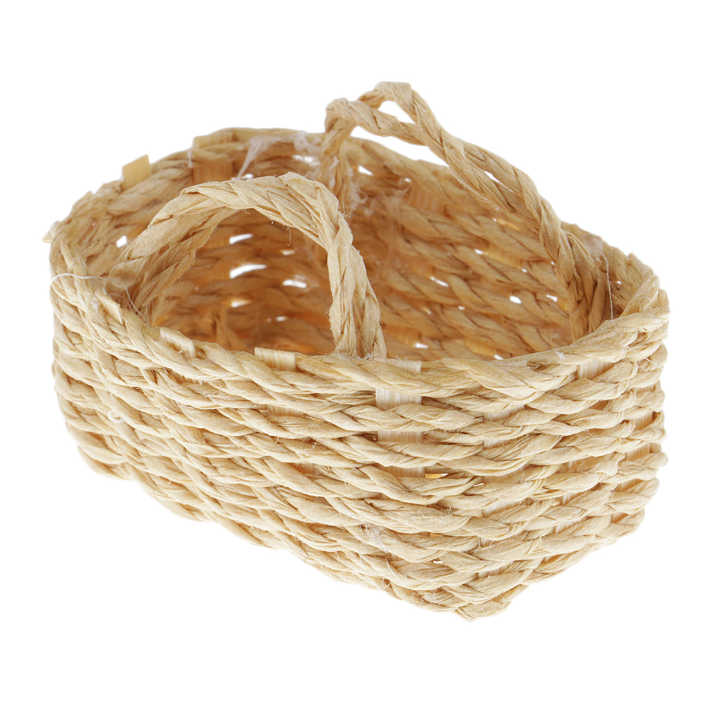 MagiDeal 1//12 Bamboo Woven Basket Dollhouse Miniature Accessories Decor Kit