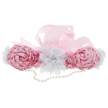 1PCS נשים חגורת שיפון סאטן פרח פרל אבנט חתונה כלה להתלבש הריון דיוקן בהריון אישה אבזרי תמונה(China)
