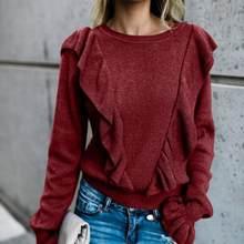 Suéter holgado estilo básico combinado simple mujer elegante mujer invierno con volantes manga de llamarada cuello redondo suéter de Color sólido(China)