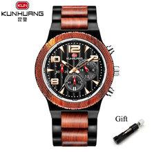 Reloj de madera a la moda cebra + reloj cronógrafo de sándalo negro para hombre, reloj deportivo, relojes de pulsera de lujo de madera para hombre(China)