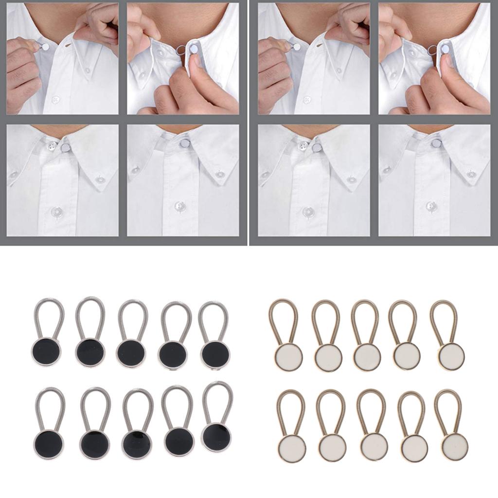 10x Shirt Collar Extenders 10mm Elastic Expands Top Neck Tie Buttons Dress