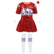 ילדים ילדי היפ הופ ג 'אז שלב ריקוד תלבושות סטי רחוב ריקוד מבריק פאייטים גופייה עם מכנסיים קצרים גרבי סט ילד ריקוד ללבוש(China)
