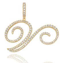 TOPGRILLZ nouveau A-Z lettres cursives nom personnalisé pendentif et collier glacé cubique Zircon or argent couleur charme Hip Hop bijoux(China)