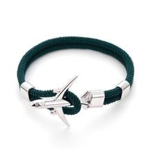 Trendy Boeing samolot mężczyźni bransoletka łańcuch liny Charm bransoletki dla kobiet mężczyzna przetrwania styl lotnictwa sportowa hak opaska na ramię biżuteria(China)