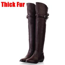 KARINLUNA 34-48 Rahat Bayanlar Düz Diz Üzerinde Şövalye Çizmeler Kadın 2019 Kış Zarif Uyluk Yüksek Çizmeler Sıcak kürk Ayakkabı Kadın(China)