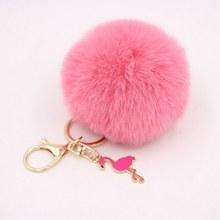 Cute Pink Flamingo Chaveiro Pele Pompom Bola De Pêlo Falso Chaveiro Pompom Fofo Saco Encantos Chaveiro Chave Anel Partido Da Menina presente(China)