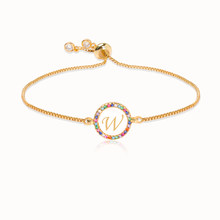 Pelangi Berwarna-warni Zircon 26 Huruf Gelang untuk Wanita Adjustable Awal Gelang Femme Rantai Ular Perhiasan Hadiah Natal(China)