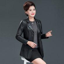 Anne faux deri ceket siyah L-4XL artı boyutu gevşek PU ceket 2019 sonbahar kış yeni kore yaka uzun kollu moda ceket JD617(China)
