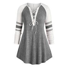 Женская футболка, новинка размера плюс, облегающий пуловер с v-образным вырезом, в полоску, с принтом, длинный рукав, Осень-зима, модные повсе...(China)