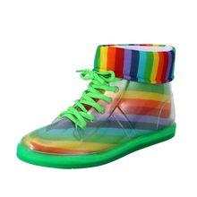 Nữ Nữ Rainbow Giày Đi Mưa Trẻ Em Mùa Đông Chống Thấm Nước Ấm Áp Buộc Dây Nhựa PVC Mắt Cá Chân Mắt Cá Chân Bằng Phẳng Với Giày Thường детская Обувь(China)