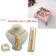 Liffly Braut Afrikanischen Schmuck Sets Mode Gold Halskette Ohrringe Ring Zirkon Brautjungfer Dubai Gold Schmuck Sets für Frauen(China)