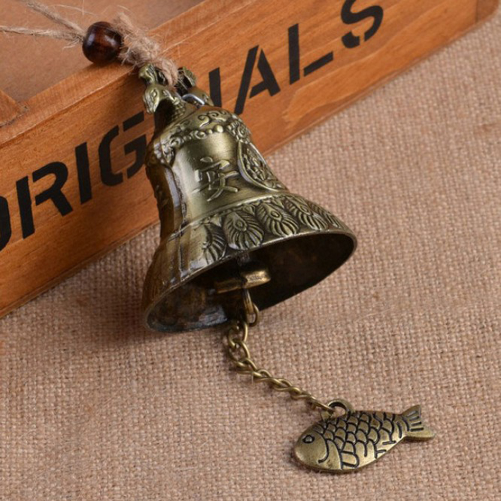 Chinese Feng Shui Style Garden Bell Wind Chime Ornament Rustic 23cm Long Metal Bell Door Pendant Adornment Wind Chime