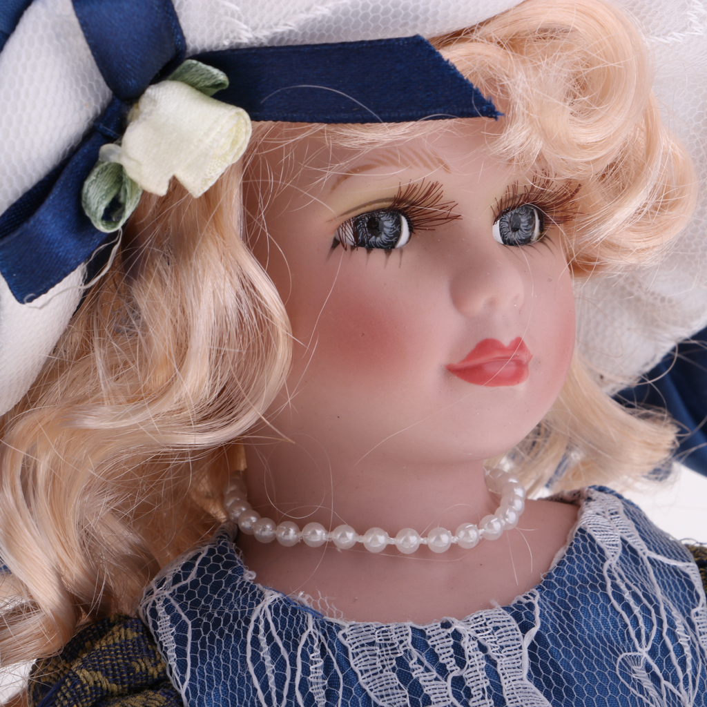 12 Inch Victorian Porcelain Doll Girls Collectible  Ceramics Doll Model With Wooden Display Stand Action Figures Accessories