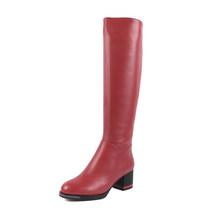 Sophitina Thời Trang Thiết Kế Màu Sắc Giày Da Bò Cao Cấp Đặc Biệt Gót Vuông Mũi Tròn Thời Trang Mới Giày Bốt Nữ SC478(China)