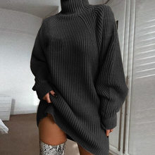 Knitting Turtleneck Sweater Dress Women Fashion 2019 Autumn Winter Solid Long Sleeve Dresses Basic Slim Female Clothes(China)