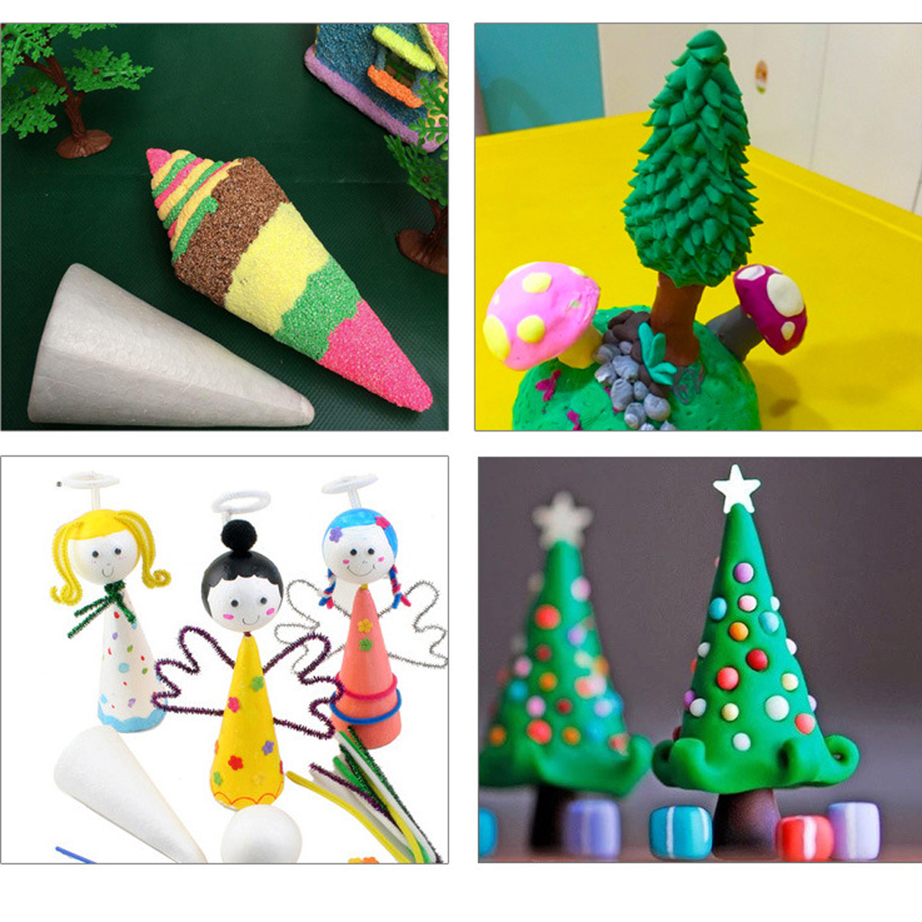 15x Styrofoam Foam Cone Solid Shape Christmas Decoraition DIY Creative Leisure 70 / 100mm