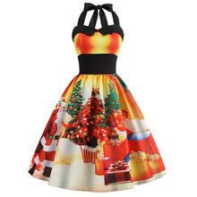 Новинка, летнее платье, женское платье с бретелькой, винтажное платье с принтом, плюс размер, рождественское праздничное платье со снежинка...(China)