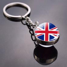 Llavero Big Ben de Inglaterra, regalo de recuerdo de Londres británico, mapa de la bandera del Reino Unido, anillos de llavero de cabujón de vidrio de Elisabeth Churchill(China)