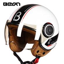 Beon Moto Bersepeda Helm Vintage Scooter Wajah Terbuka Helm Retro Naik Balap Helm ECE Disetujui Bendera Italia Moto Go Kart casco(China)
