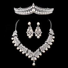 הכלה קריסטל פרל תלבושות תכשיטי סטים חדש עיצוב ריינסטון קולר שרשרת עגילי נזר כלה נשים חתונה תכשיטי סט(China)