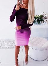 Элегантное облегающее платье средней длины для женщин, плюс размер, Осень-зима 2019, сексуальное вечернее платье с длинным рукавом, Vestidos, повс...(China)