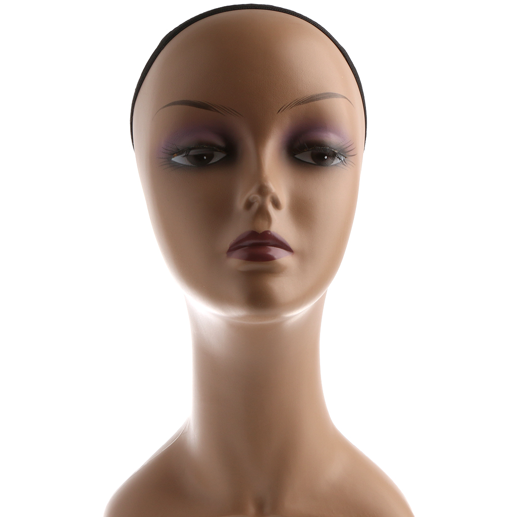 Plastic Female Mannequin Head Manikin Model Stand for Glasses Hat Wig Scarves Display with Net Cap