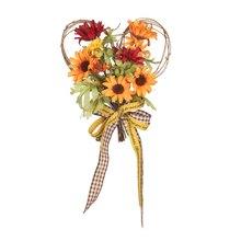 Рождественская симуляция венка подсолнух цветок лента настенный День благодарения в форме сердца праздничный венок домашний декор(Китай)