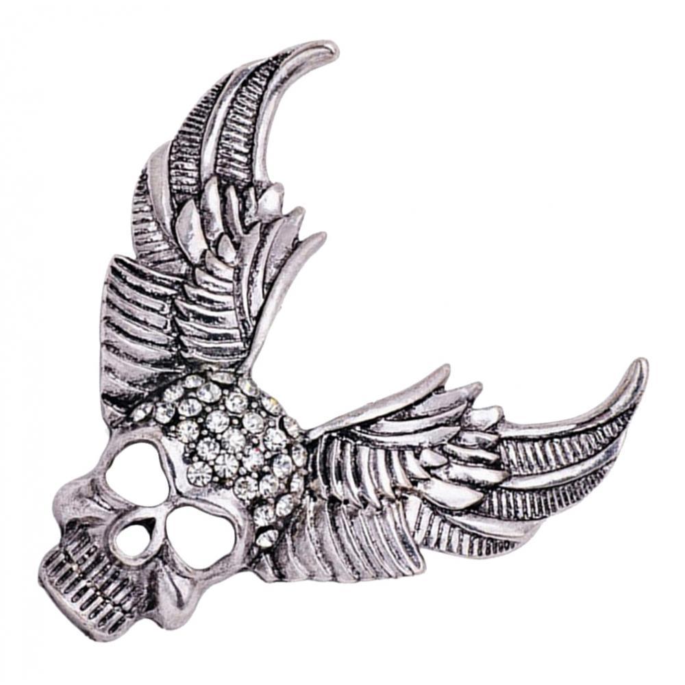 Stylish Rhinestone Skull Design Brooch Angel Wing Brooch Pins for Bags Jacket Hats Clothing Decor Hallowen Jewelry
