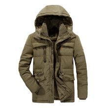 VELVET Winter Parka With Hood 2019 Casual Jacket Men's Windbreaker Warm Padded Overcoat Plus Asian Size L-5XL 6XL 7XL 8XL Coats(China)
