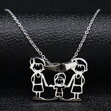 נירוסטה שרשרת אמא משפחה שרשראות תכשיטי כסף צבע אהבת ילד ילדה תליון קולר שרשרת נשים מתנה N2201(China)