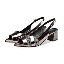 MLJUESE 2020 женские сандалии из коровьей кожи с открытым носком серебристого цвета с пряжкой на ремешке на высоком каблуке; Пляжные сандалии; Ве...(China)