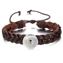 Nowe skórzane przystawki przycisk bransoletka wysokiej jakości brązowy czarny skórzana bransoletka dla kobiet mężczyzn Fit DIY 18 przyciski zatrzaskowe mm biżuteria(China)