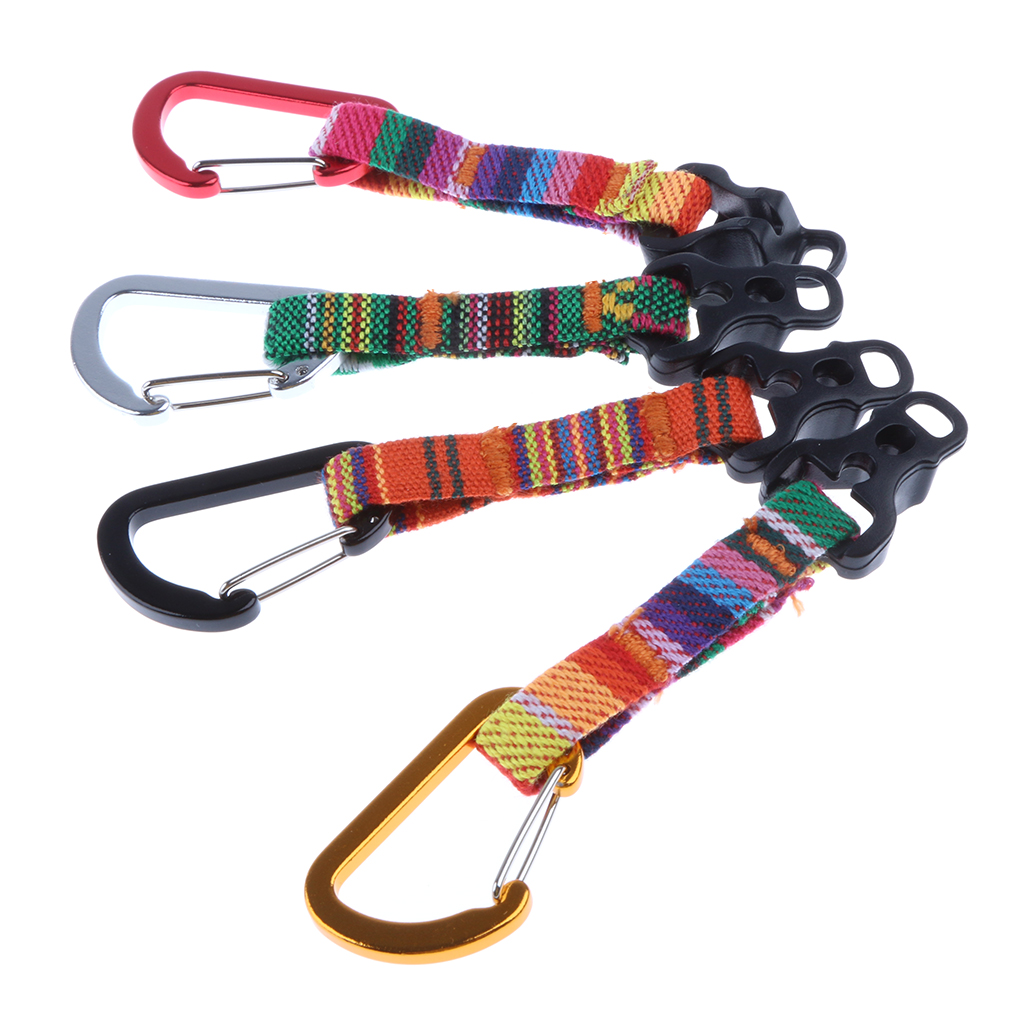 1 Piece Camping Awning Guy Line Runner Wind Rope Stopper Adjuster With D Shape Carabiner