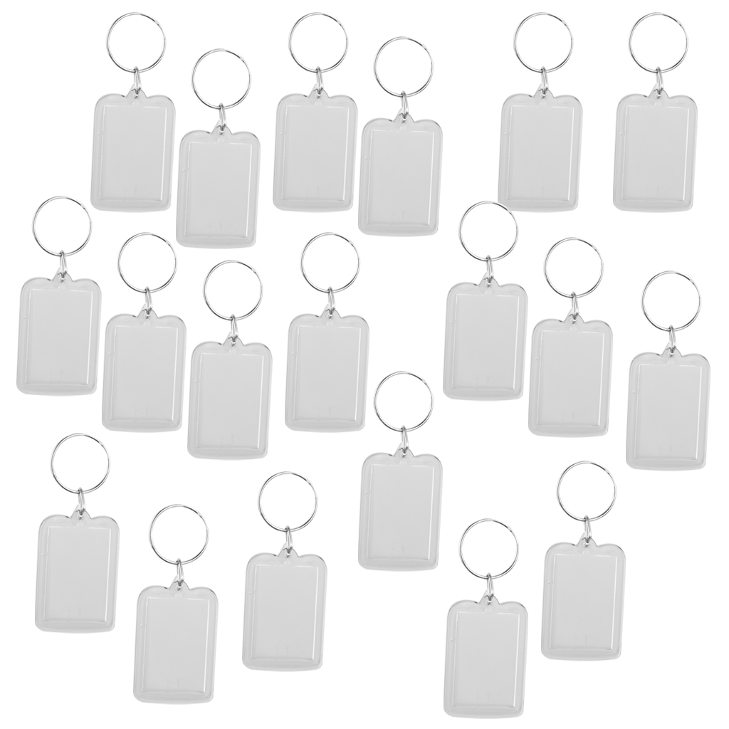 Lot of 20 Acrylic Blank Keyrings Photo Insert Keychain Picture Frame Keyring