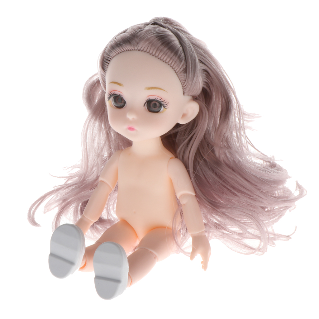 Lovely 13 Moveable Ball Joints 1/12 BJD Mini Girl Doll 3D Eyes DIY Supplies Birthday Gift  Pink Yellow Silver Hair Dolls Toy