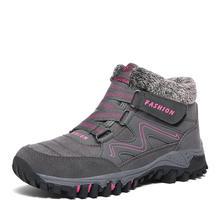 Randonnée bottes femmes chaussures 2019 nouveau chaud fourrure neige cheville bottes femme à talon compensé à lacets chaussures d'hiver imperméables femmes bottes d'hiver(China)